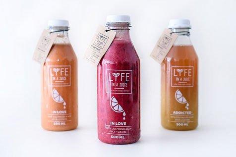 LYFE IN A JUICE - projekt logo oraz etykiety